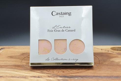 Foie gras entier Castaing 2 x 40g - Canard Poids: 2 x 40g - Prix au kilo € TTC :250 €/Kg - 1