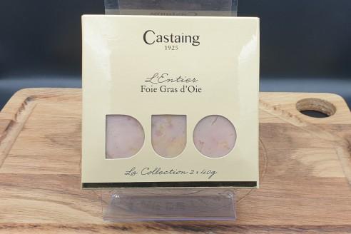 Foie gras entier Castaing 2 x 40g - Oie Poids: 2 x 40g - Prix au kilo € TTC : 312,50 €/Kg - 1